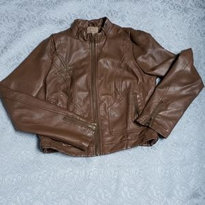 Brown pleather bomber jacket